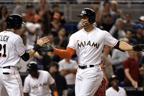 Giancarlo Stanton out of the Marlins lineup on Wednesday